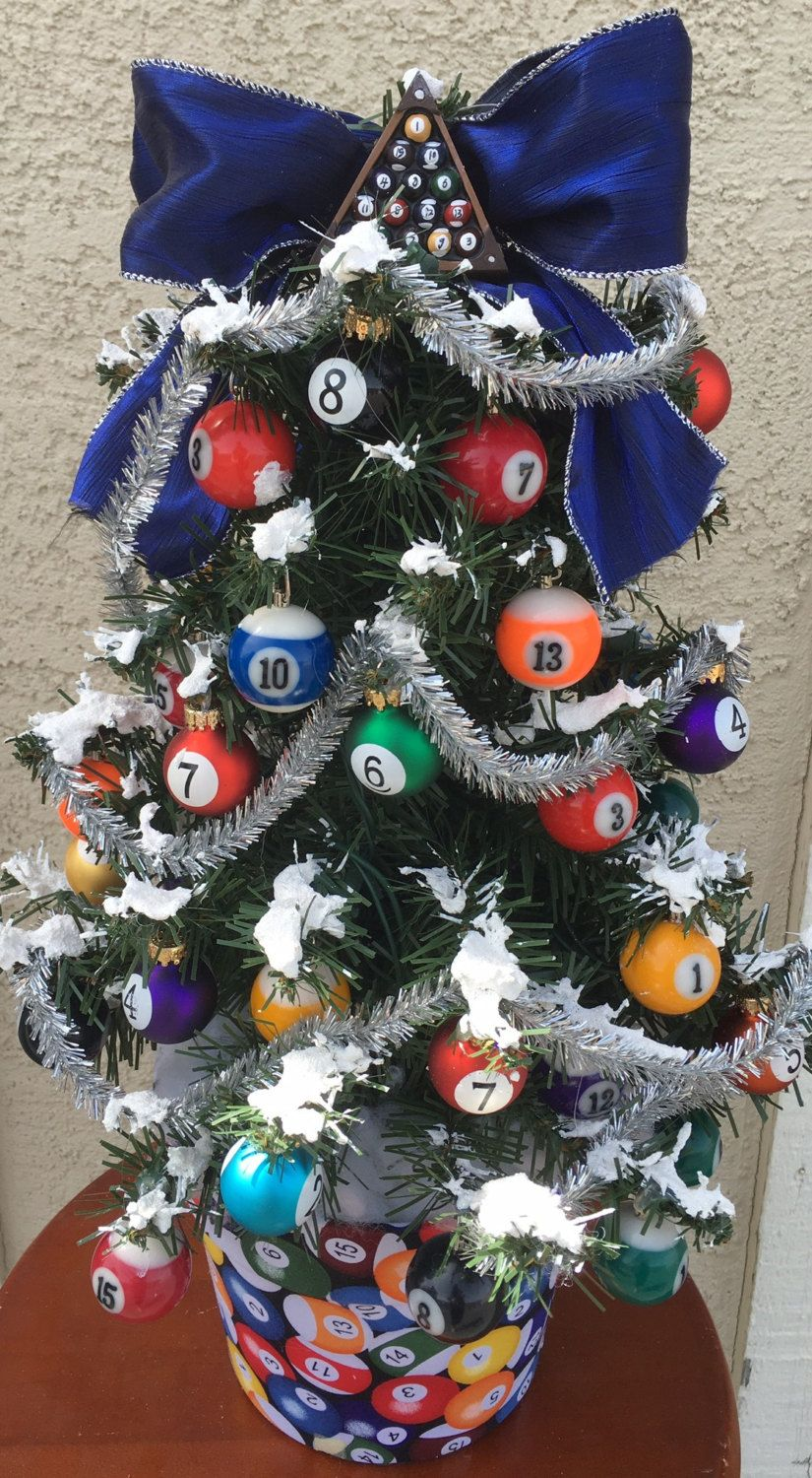 Attractive Pool Place Christmas Trees Part - 5: Game Room ,Pool, Pool Table, Billiards, Themed Christmas Tree, Holiday Tree