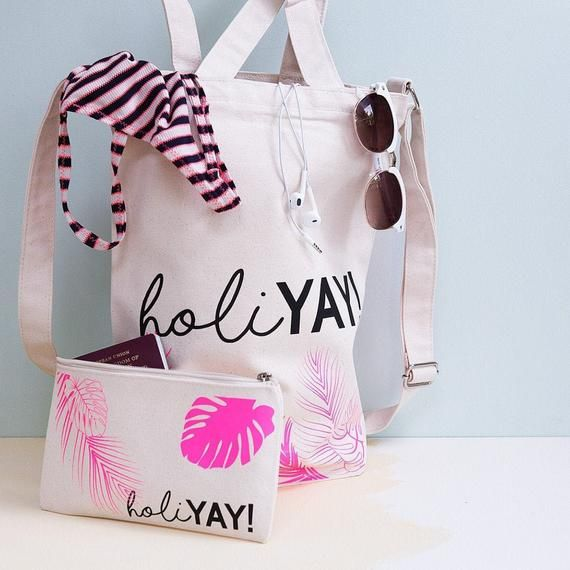Personalised Holiday Canvas Tote And Makeup Bag - Tropical Print - Tote Bag - Palm Leaf Print - Beach Bag Set - Travel Bag - Cross Body Bag #woodentotebag