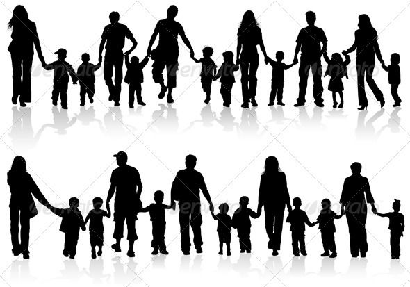 Collect Family Silhouettes Hand Silhouette Family Vector Silhouette Family