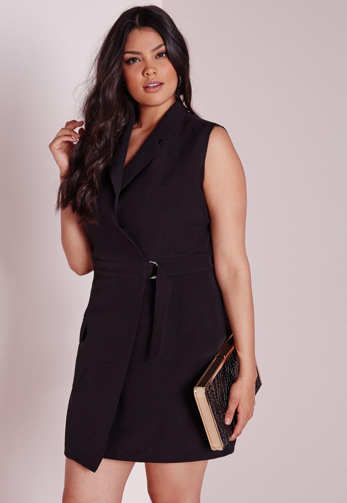 Missguided - Plus Size Wrap D-Ring Dress Black