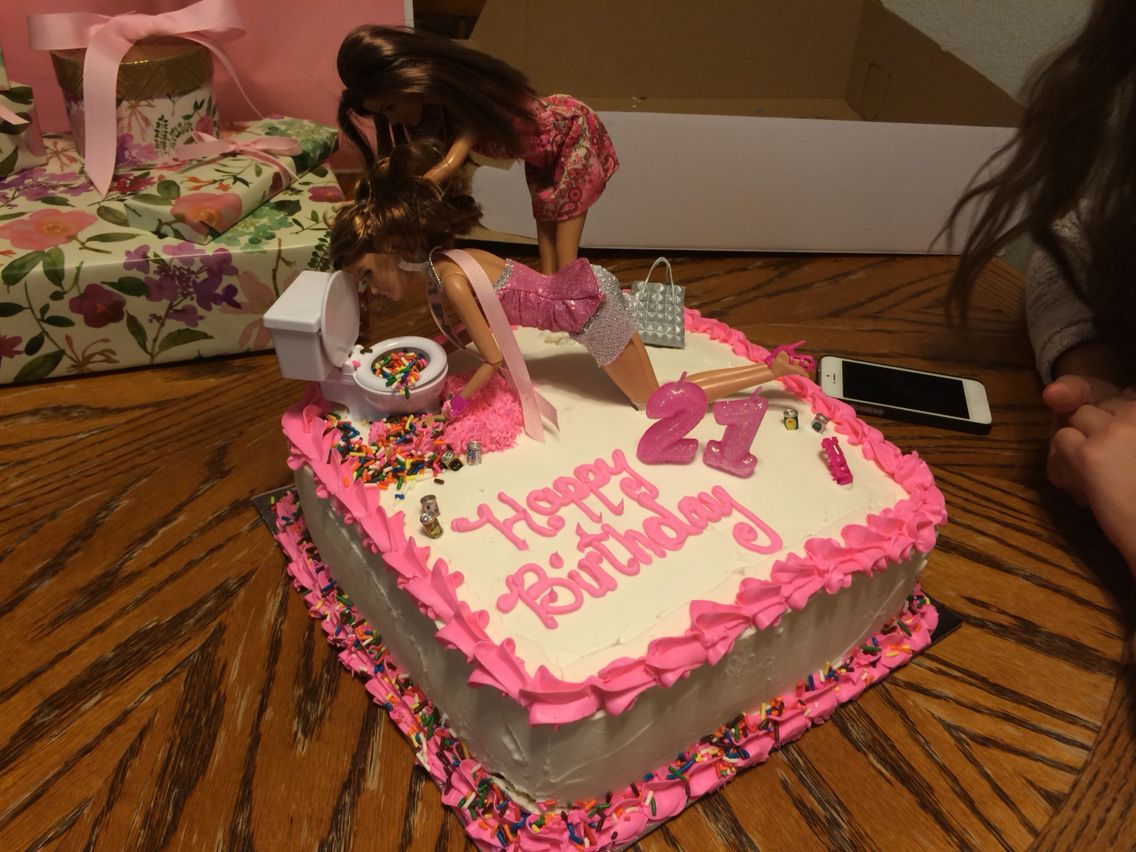 Drunk Barbie 21st Birthday Cake
