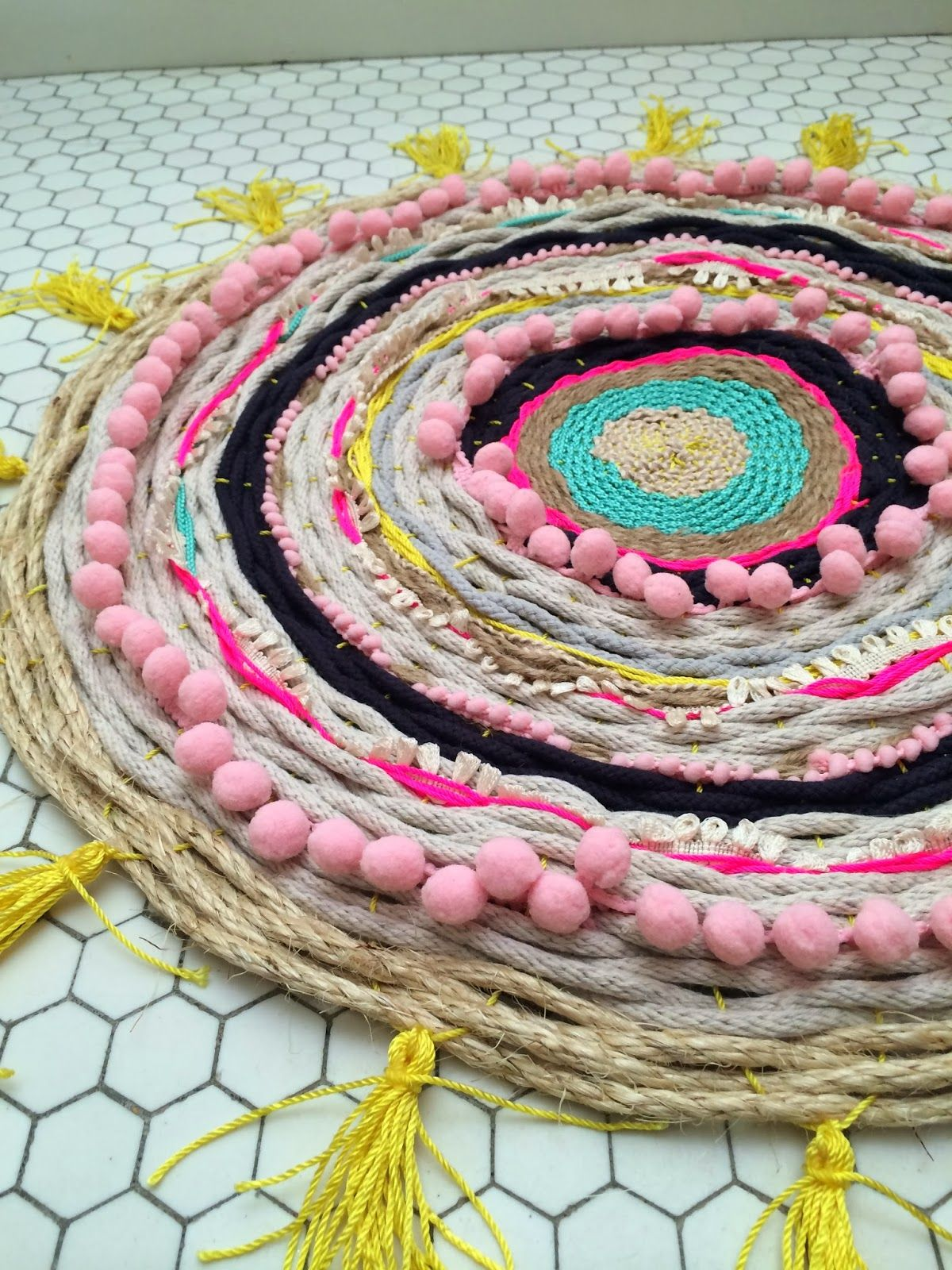 DIY Woven Pompom Rope Rug Red Lipstick French Toast Home - Diy rugs projects