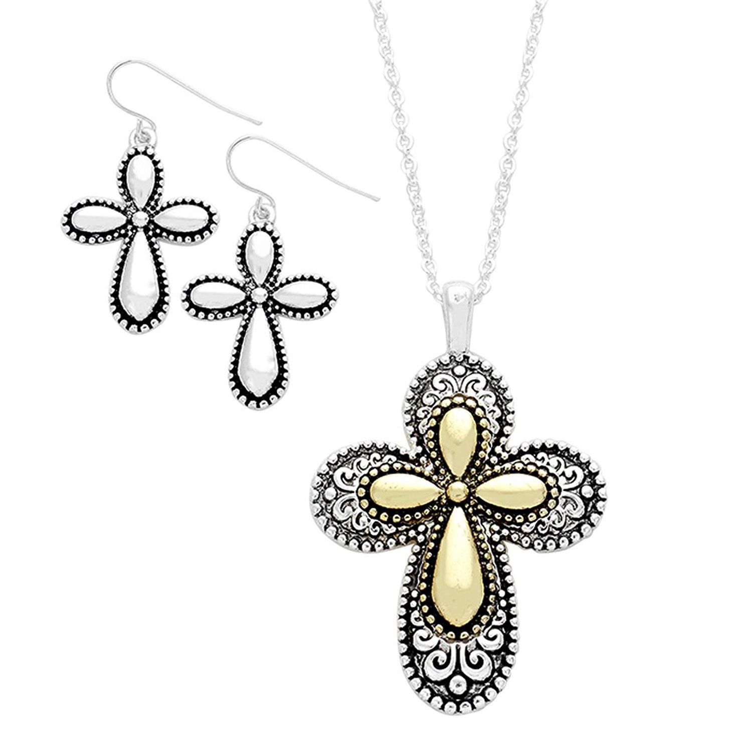 Rosemarie Collections Women\'s Two Tone Christian Cross Religious ...