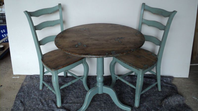 Details About Distressed Rustic French Dining Bistro Table Oak Top Side Folding Chair Option