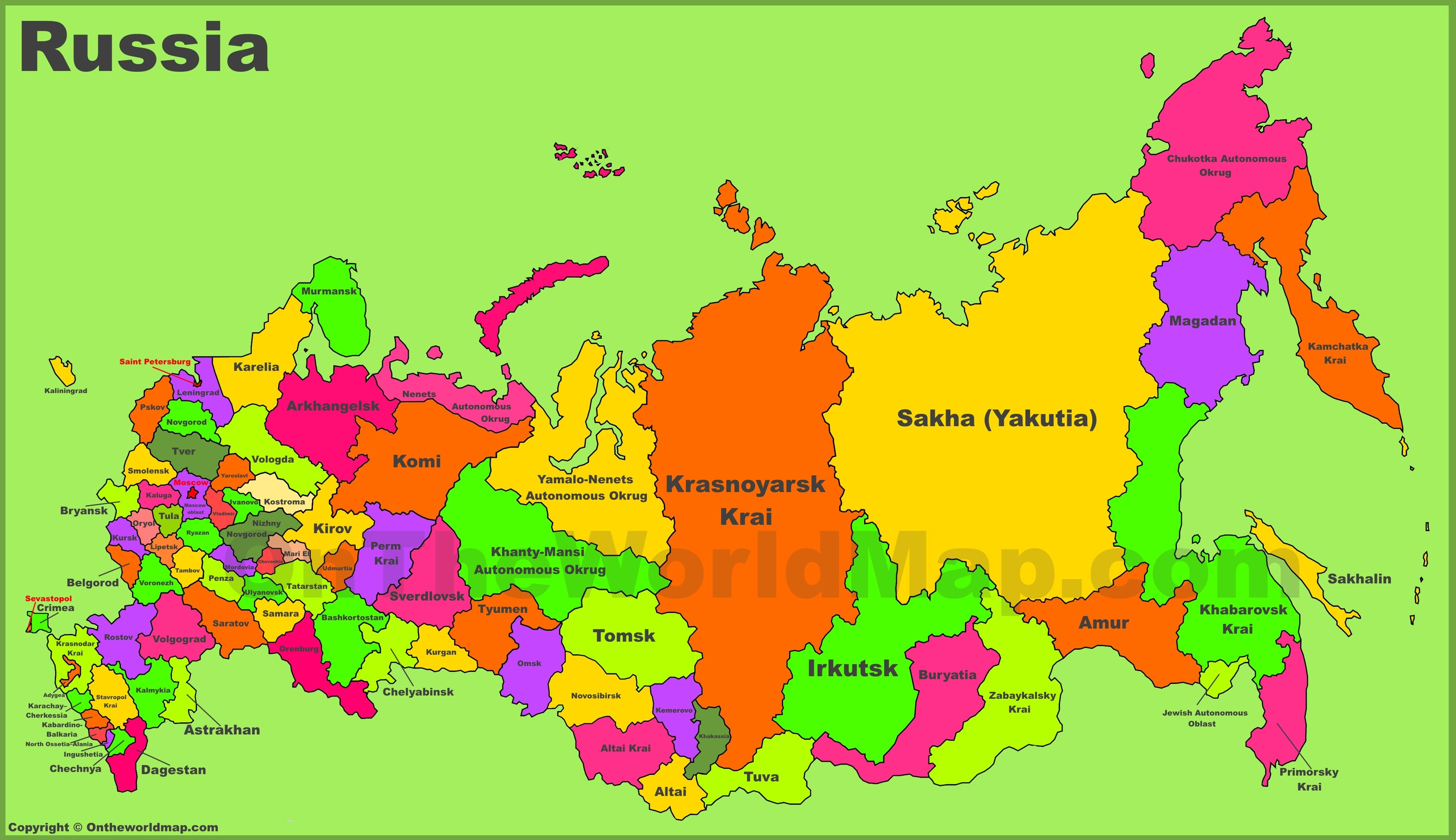 Map Of Russian This is a map of Russia. Did you know that Russia is bigger than