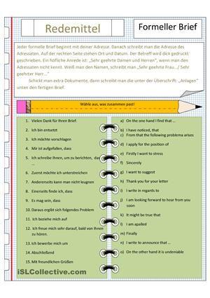 Redemittel Formeller Brief Deutsch Pinterest Teaching