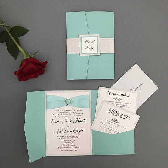 Gorgeous teal pocket folder Wedding Invitation suite Two layers