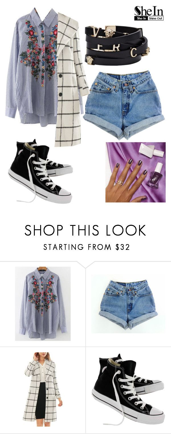 """""""NK"""" by lady-shadylady ❤ liked on Polyvore featuring WithChic, Levi's, Allegra K, Converse, Versace, Essie, men's fashion and menswear"""