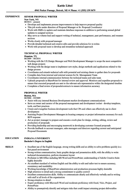 Proposal Writer Resume Samples Security resume, Resume
