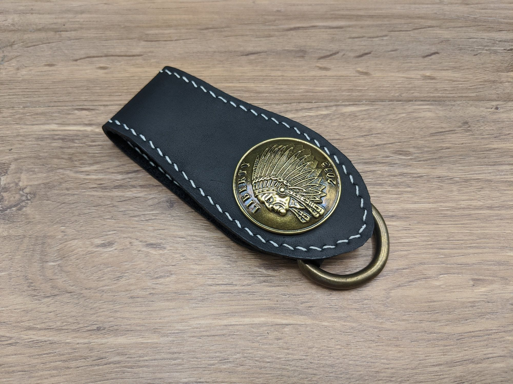 Indian Belt Loop Key Chain Skull Cowhide Leather Wallet