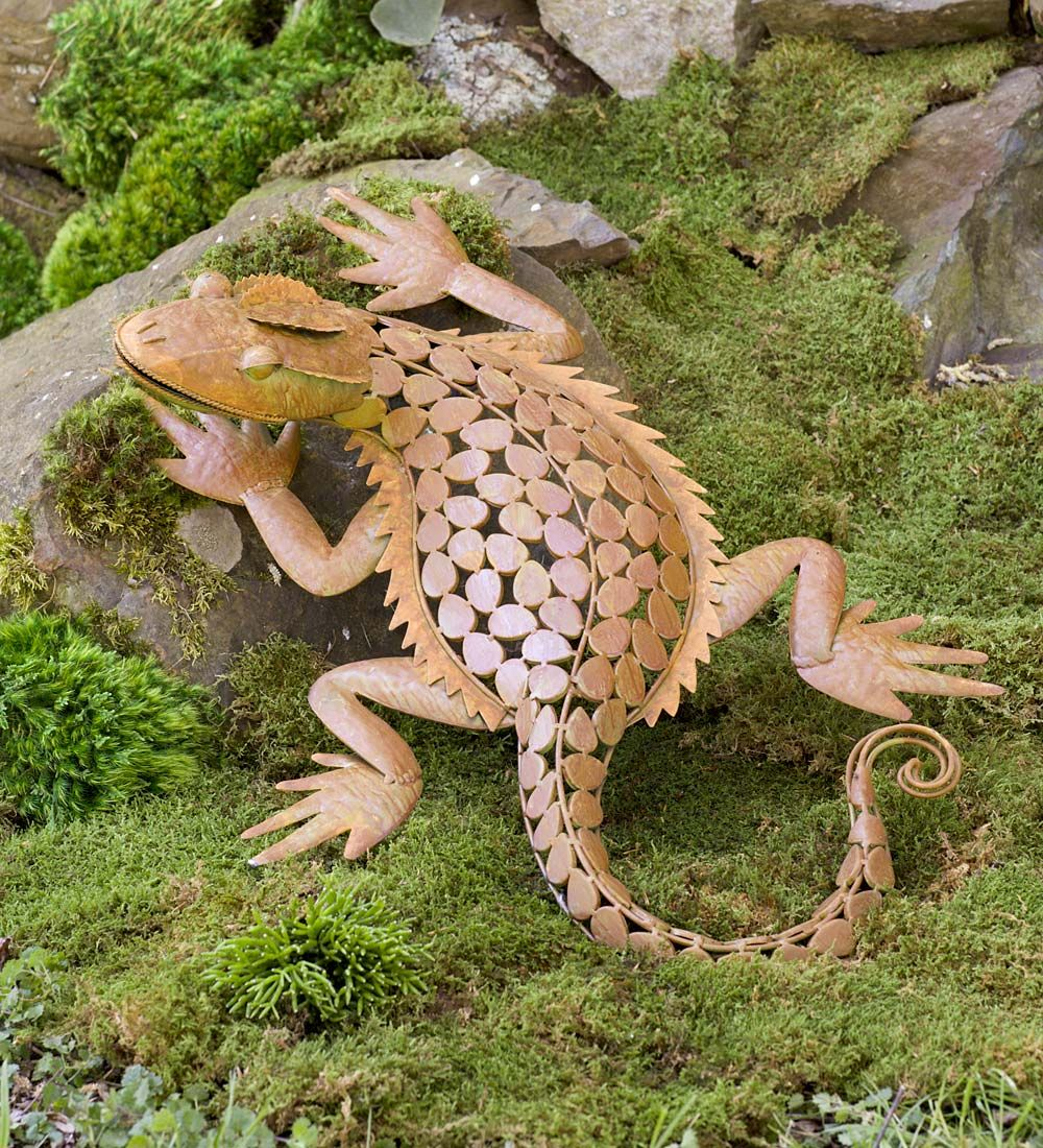 Metal Horned Lizard Sculpture In Garden Statues Horned Lizard