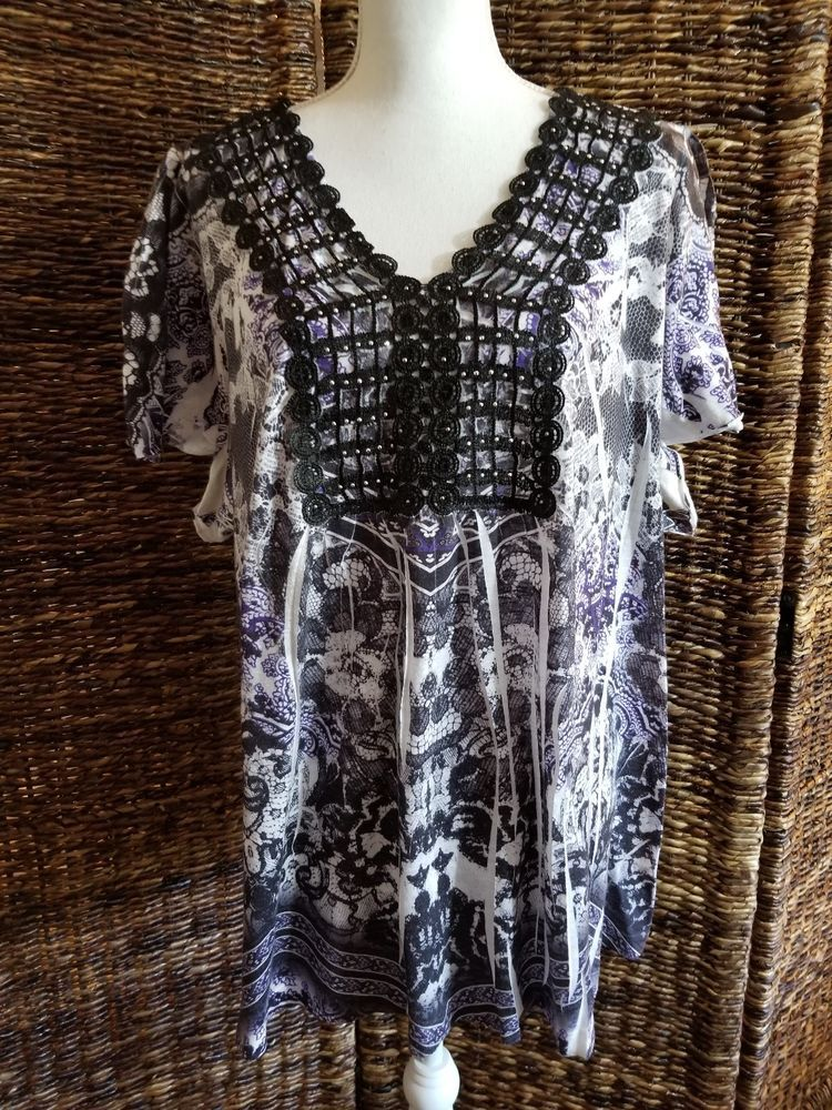 c2a22c7c698 One World Live And Let Live Women s Size 3X Embellished Pullover Top   fashion  clothing