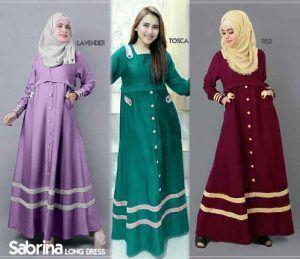 Gamis Remaja Sabrina B067 Katun Model Baju Muslim Terbaru Abayas