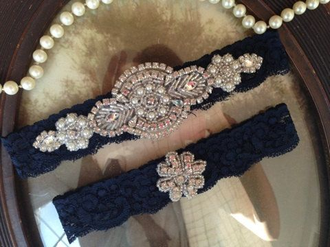 SALE Wedding Garter Navy Blue Lace Set
