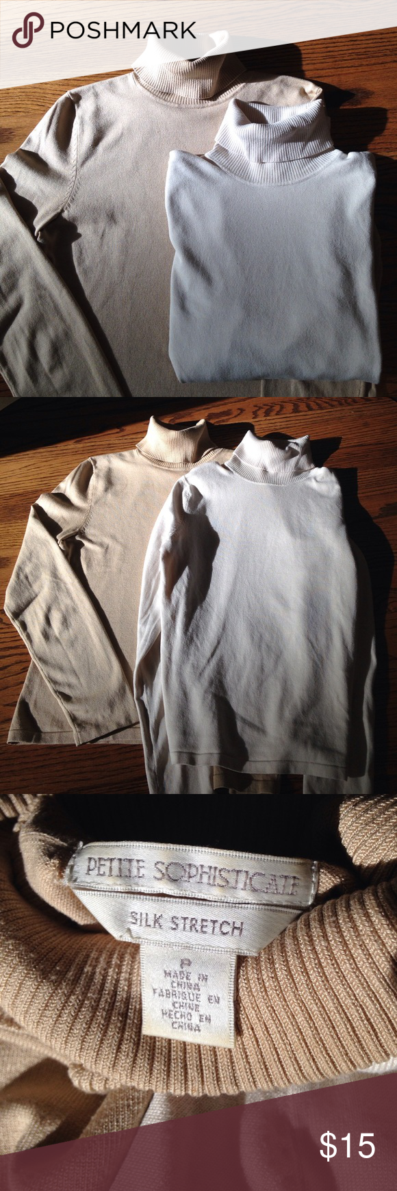 """2 beautiful silk sweaters in beige and ivory. Both sweaters are a 76/20/4 Silk/nylon/spandex blend. 21"""" long 16 1/2"""" wide at bottom. They are in excellent condition.  Hand wash cold lay flat to dry.  Offers welcome. Petite Sophisticate Sweaters Cowl & Turtlenecks"""