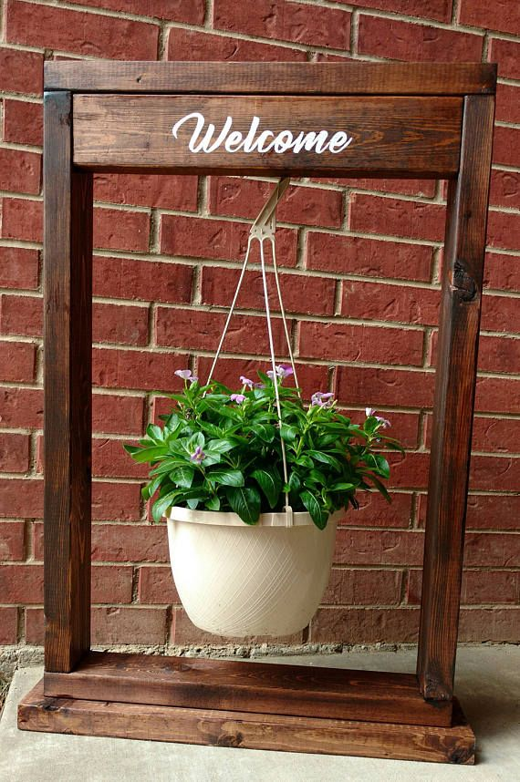 Custom Handmade Wood Hanging Basket Plant Stand with hook ... on Decorative Wall Sconces For Flowers Hanging Baskets Delivery id=26637