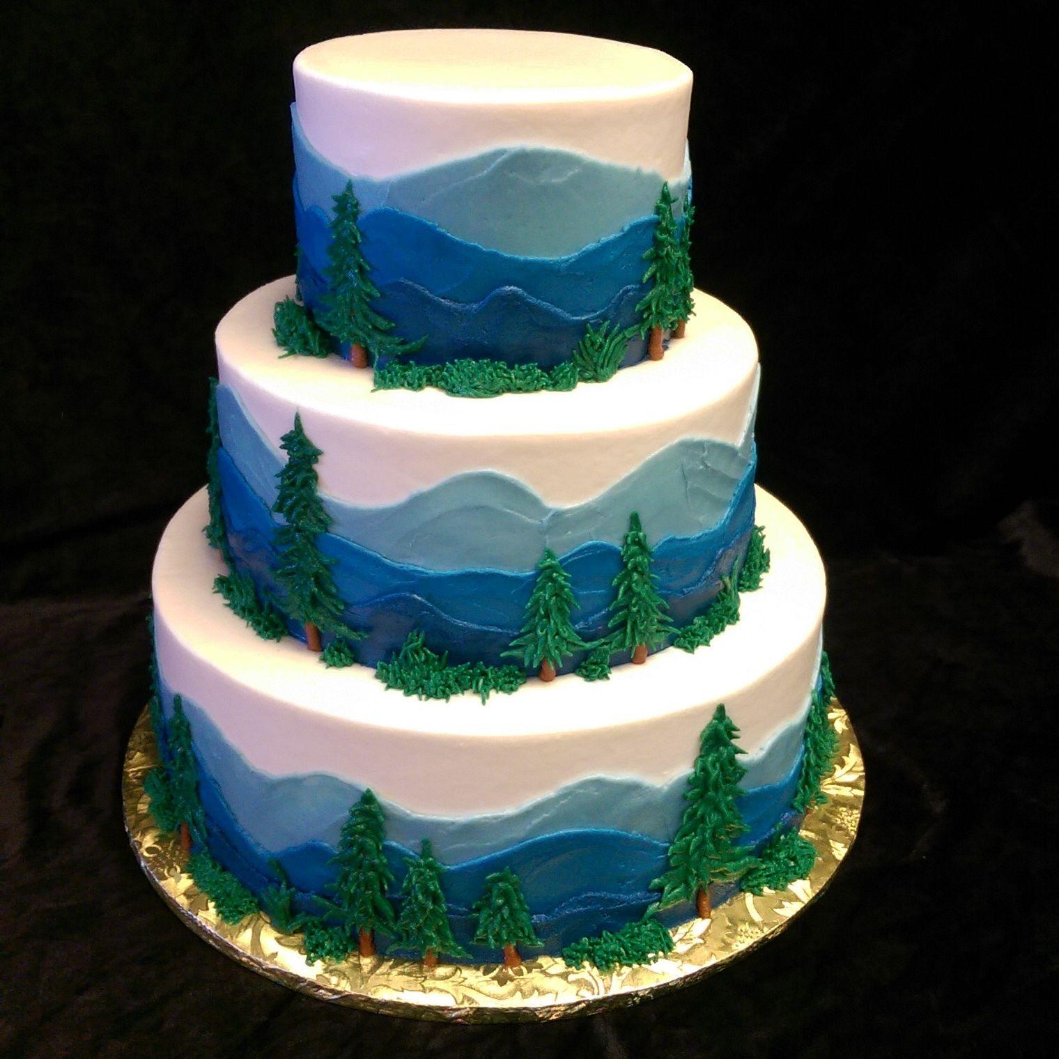 Wedding Cake Recipe Custom History: A Pacific Northwest Inspired Wedding Cake. Buttercream