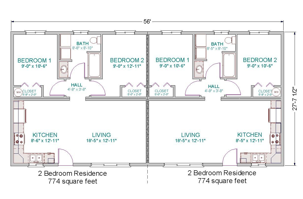 Simple small house floor plans modular duplex tlc for Duplex layout plan