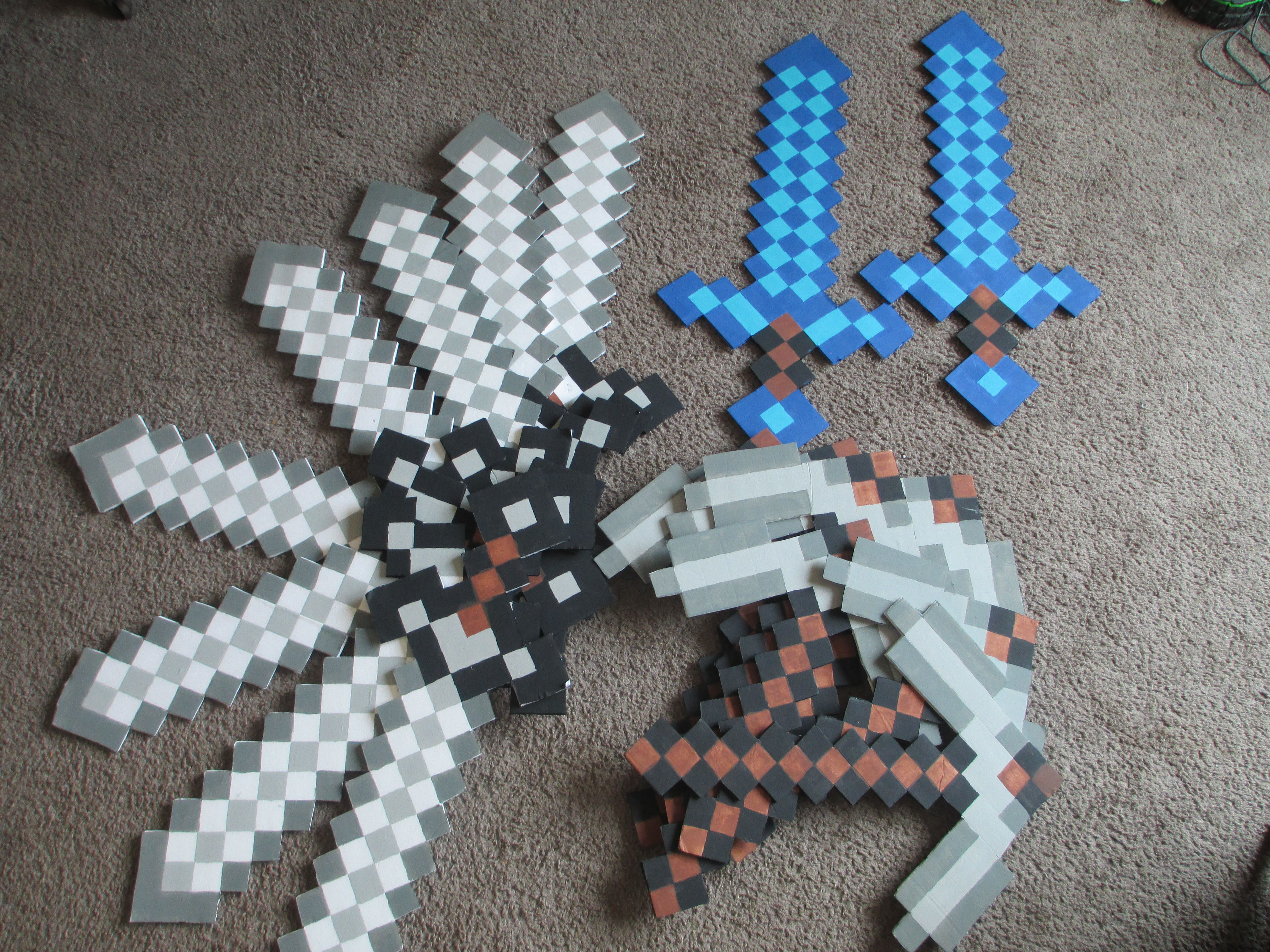 Minecraft Party Weapons Made Form Dollar Tree Foam Board  Boys