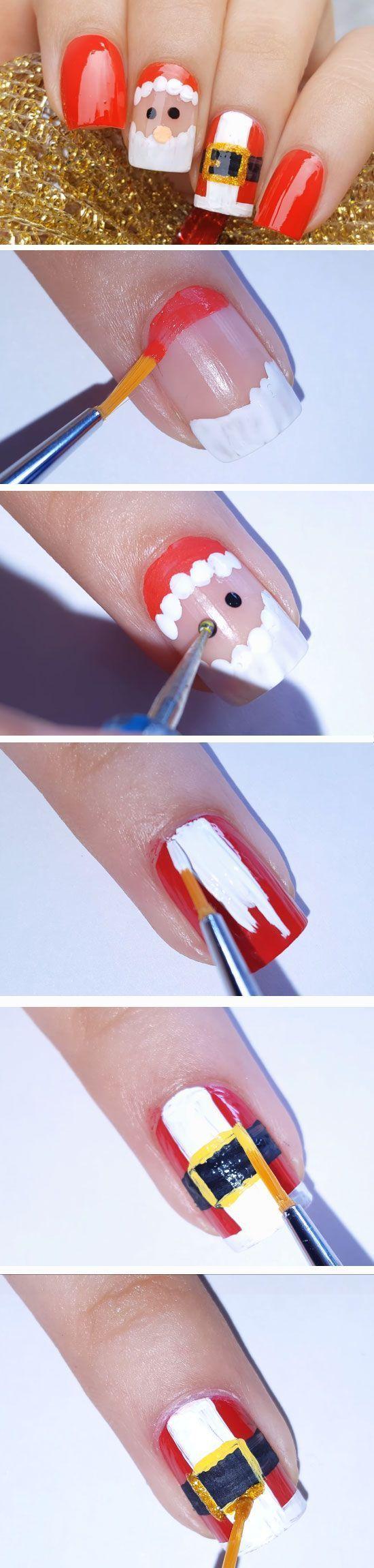 Santa Suit Easy Christmas Nail Designs For Short Nails Nails