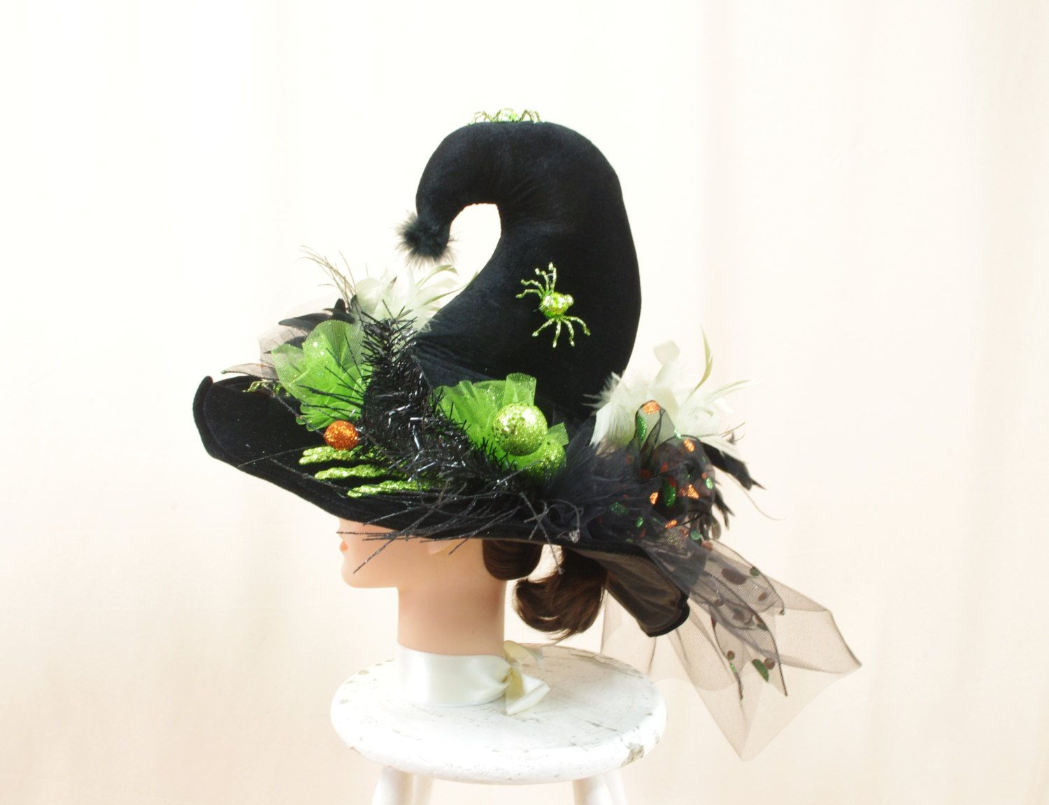 Green and Black Witch Hat * Whimsical Witch Hat * Wicked Witch Hat - Whimsical Halloween Decorations