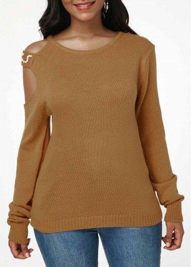3a32b8ad02da Rosewe Women Sweater Yellow Cutout Shoulder Long Sleeve Pullover ...