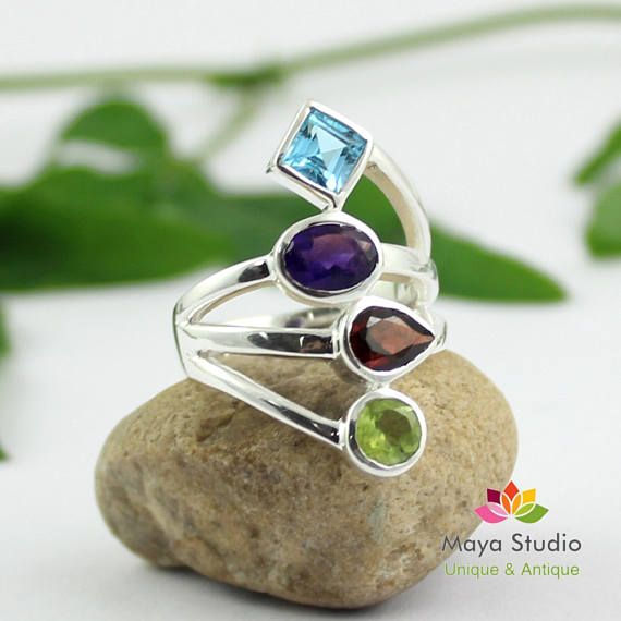 b14f4d3d2f3ca Multi color Party Ring,Peridot Swiss Blue Topaz Ring,925 sterling ...