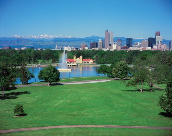 City Park with downtown Denver skyline and the Colorado Rocky Mountains