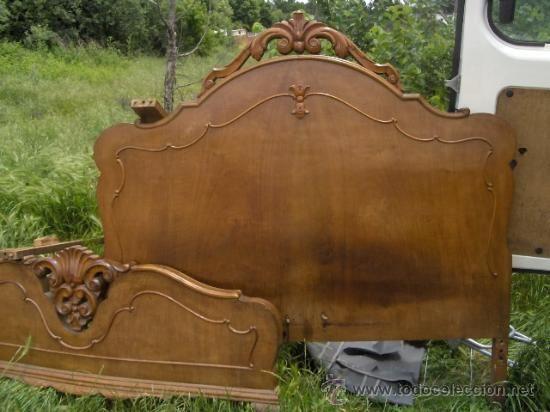 Antigua cama de madera valenciana con largueros - Cabeceros de cama antiguos ...