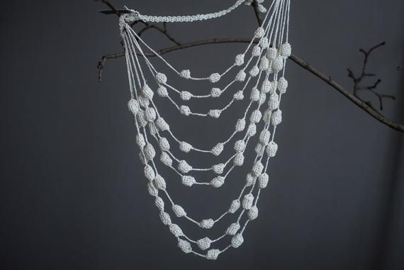 Photo of Pearl evening knitted necklace, shining lightweight soft des…