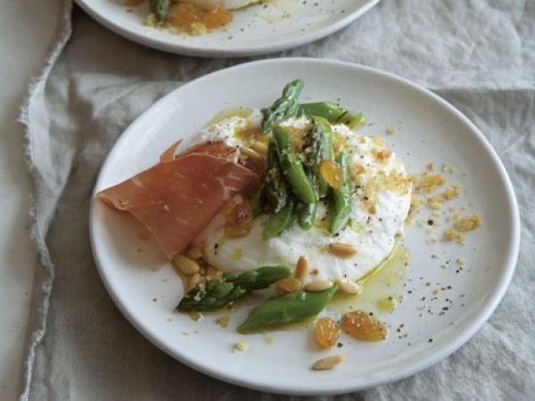 Burrata with Asparagus, Pine Nuts, and Golden Raisins | KitchenDaily.com
