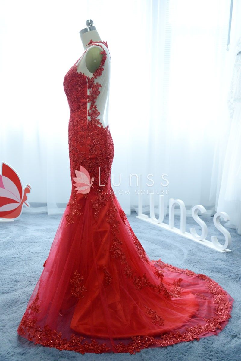 Ruby embroidery lace appliqued vneck sweep train mermaid long prom