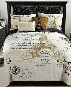 Paris Reversible 8 Pc Gold Full Comforter Set Bedroom Comforter