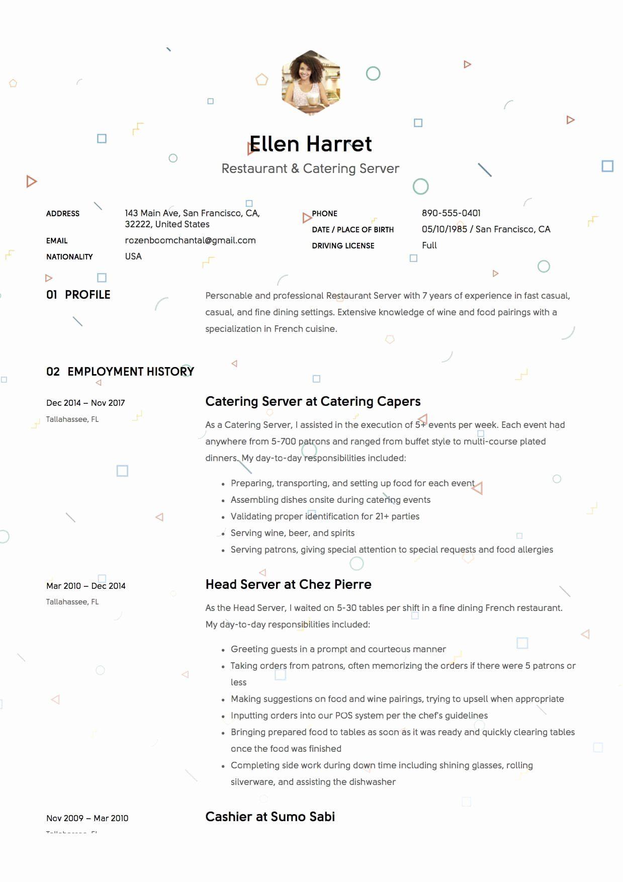 20 Fine Dining Server Resume Server resume, Good resume