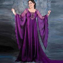 Purple abendkleider Kaftan Dresses mujer Formal de la tarde vestidos gasa árabe de manga larga vestidos del partido vestido de festa longo(China (Mainland))