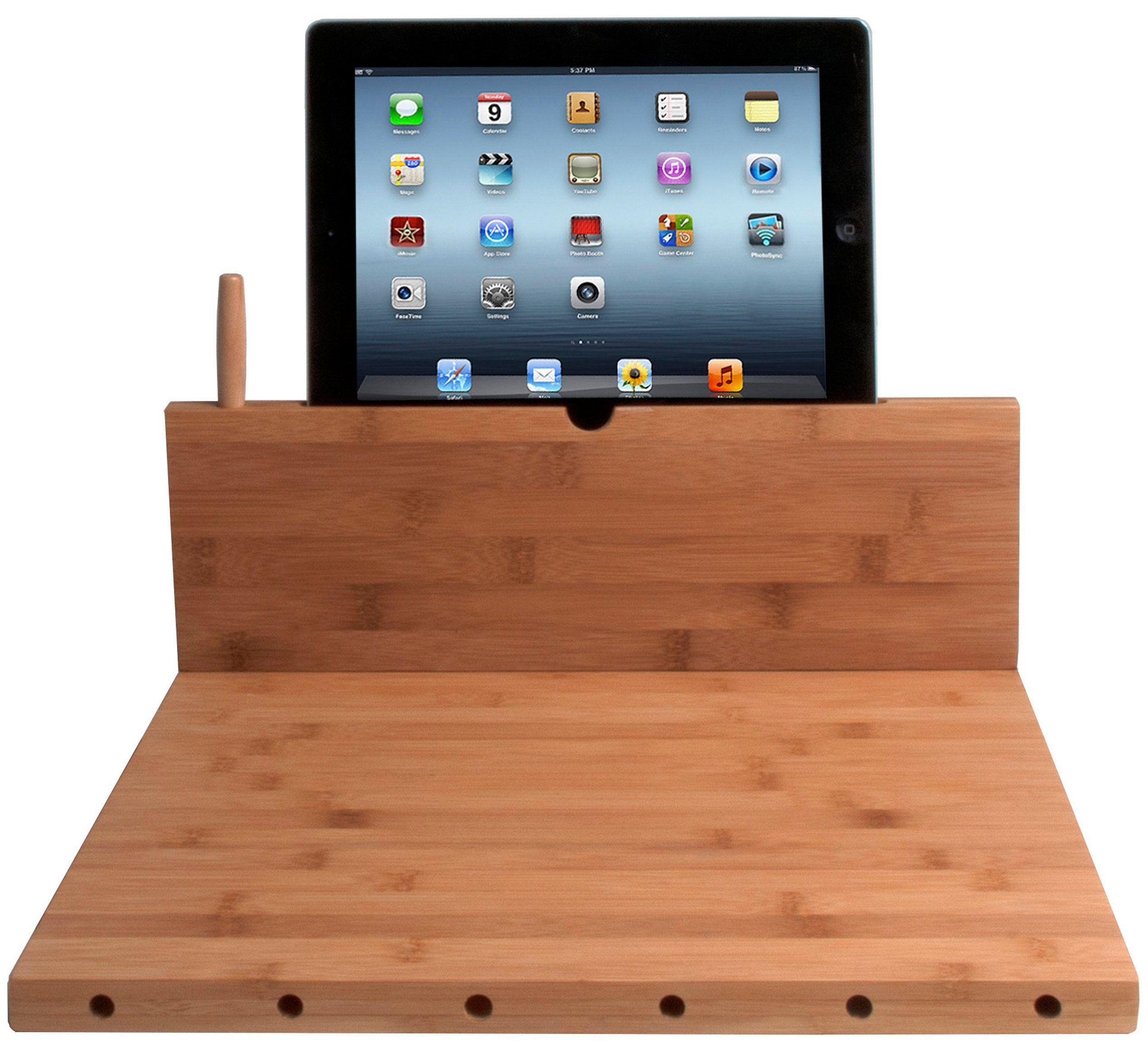 Cta digital bamboo cutting board with ipad stand stylus and knife