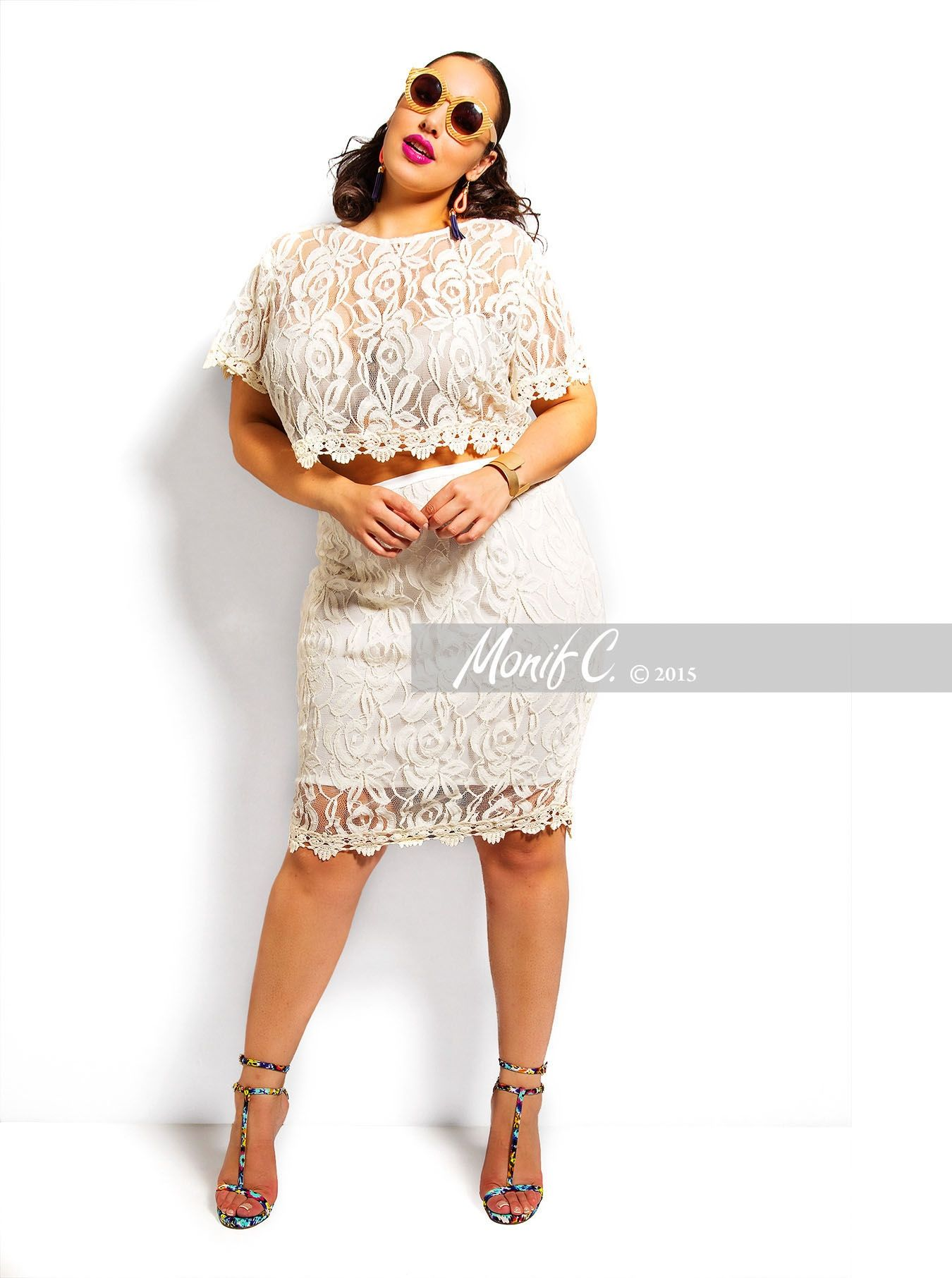 782b24cae2d Monif C Plus Size Lace Crop Top and Skirt outfit Perfect for a Wedding  Rehearsal