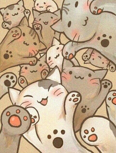Imagem De Cat Wallpaper And Kawaii Arte Fofa Desenhos De