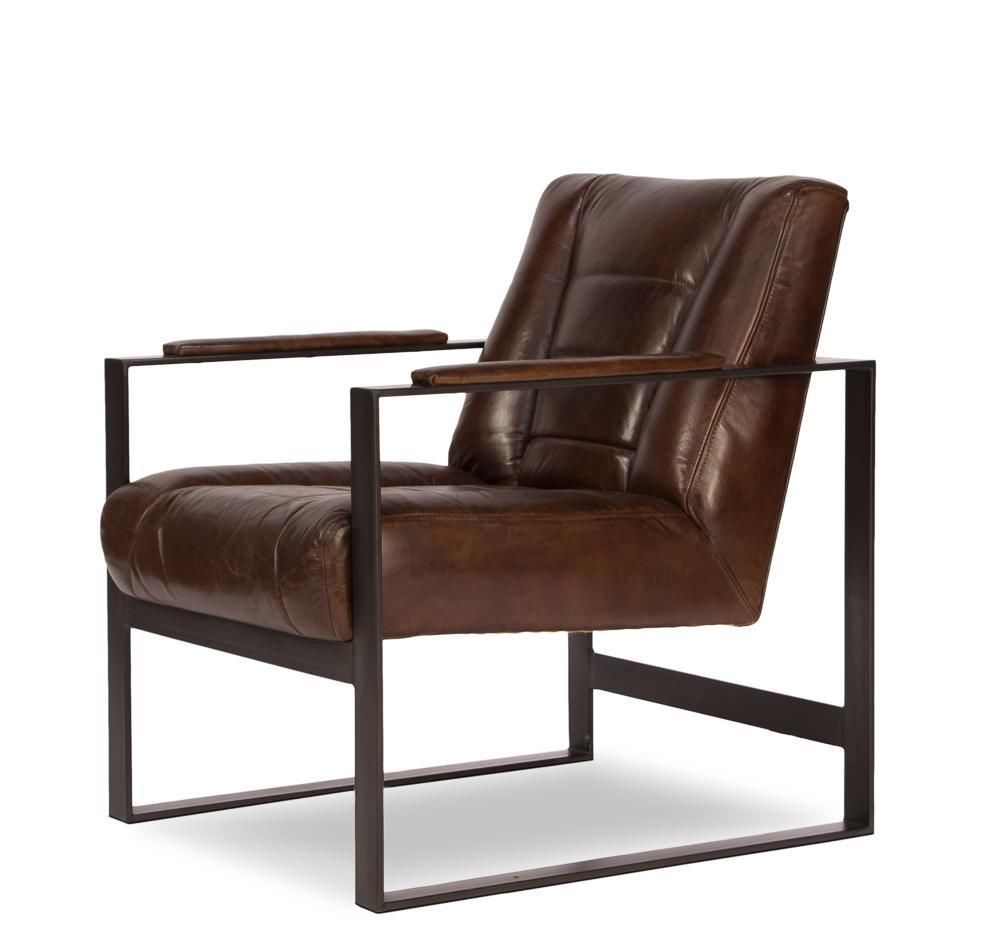 BMW Brown Leather Arm Chair Jute Back Metal Arms U0026 Legs Classic 1950 Style  #SarLtd