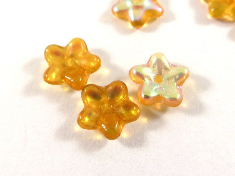 25 Czech Glass Flowers Amber AB 5 Petal Topaz Bead Caps 8x3mm for 6mm+ Beads - 25 pc - 6056-AM by allearringsandsuppli on Etsy