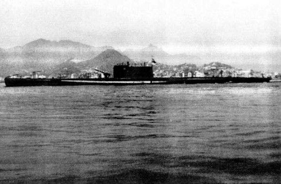 Submarino Humaytá, na Baía da Guanabara- 1928