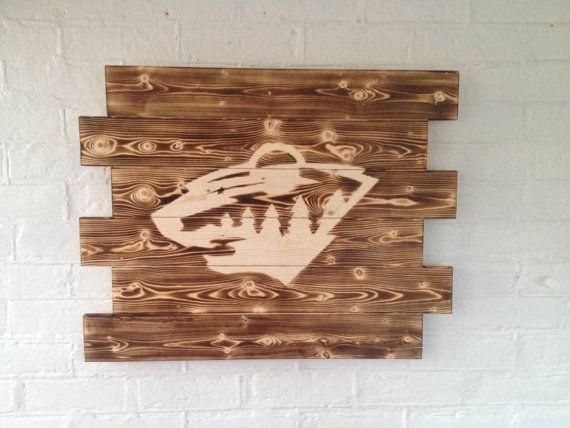 Man Cave Hockey Signs : Minnesota wild wooden sign hockey wall hanging man cave