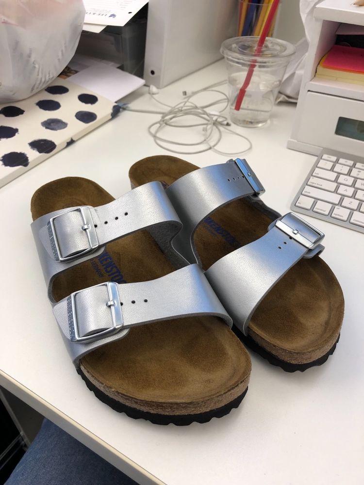 f607f1cf3da5 Birkenstock Arizona Birko Flor soft footbed narrow width silver sandals 40   fashion  clothing
