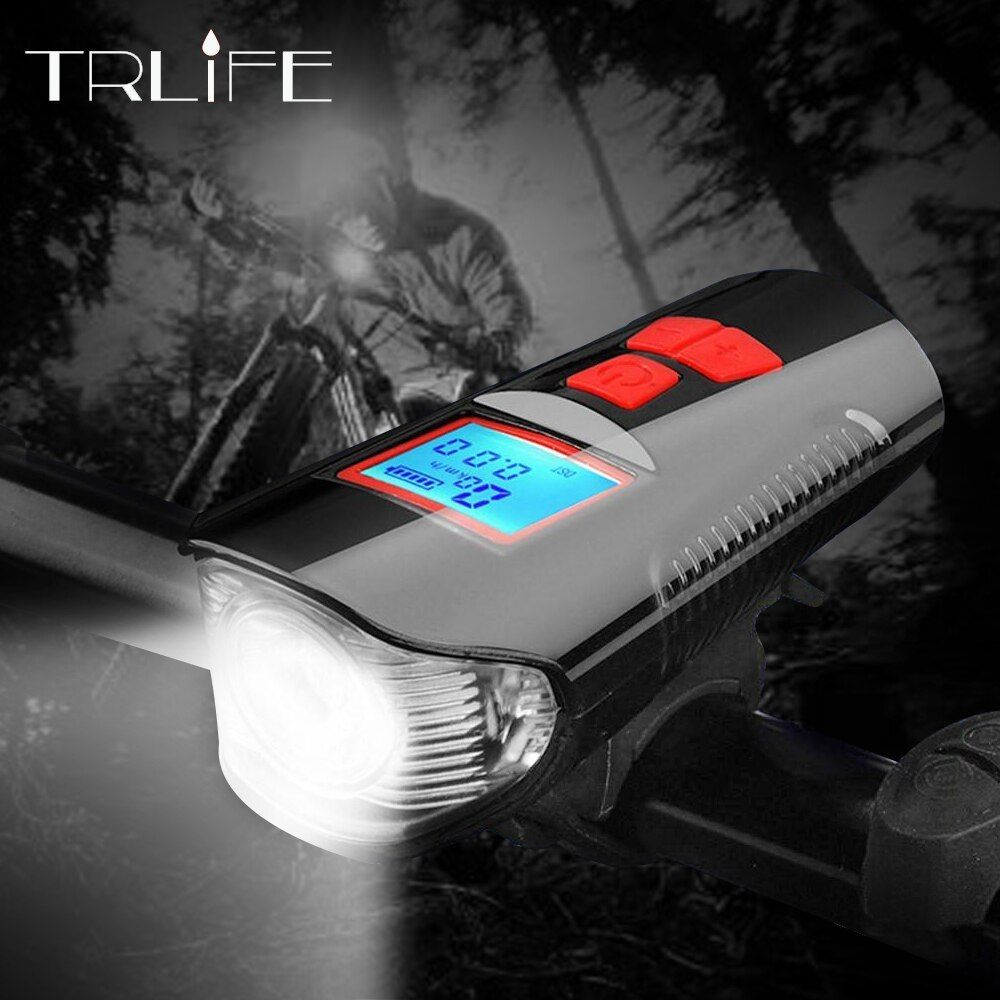 3 in 1 Bike Horn Odometer Bicycle Computer Bike LED Flashlight USB Rechargeable