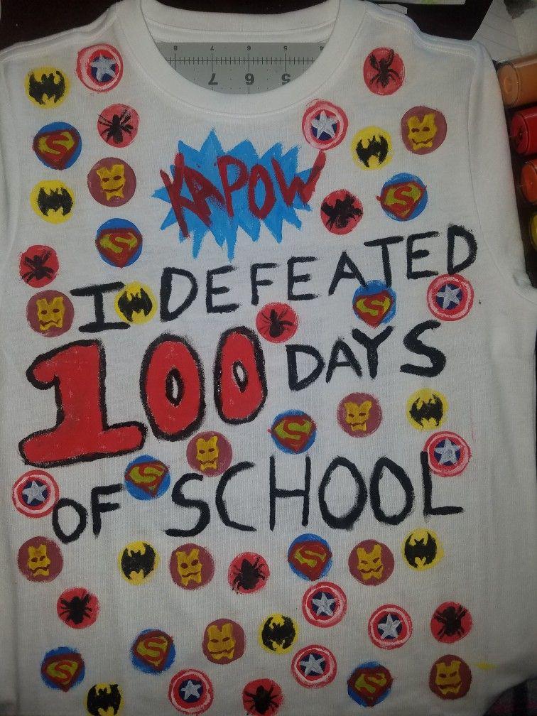 100 Days Of School Shirt Superheroes Logos Kapow Batman
