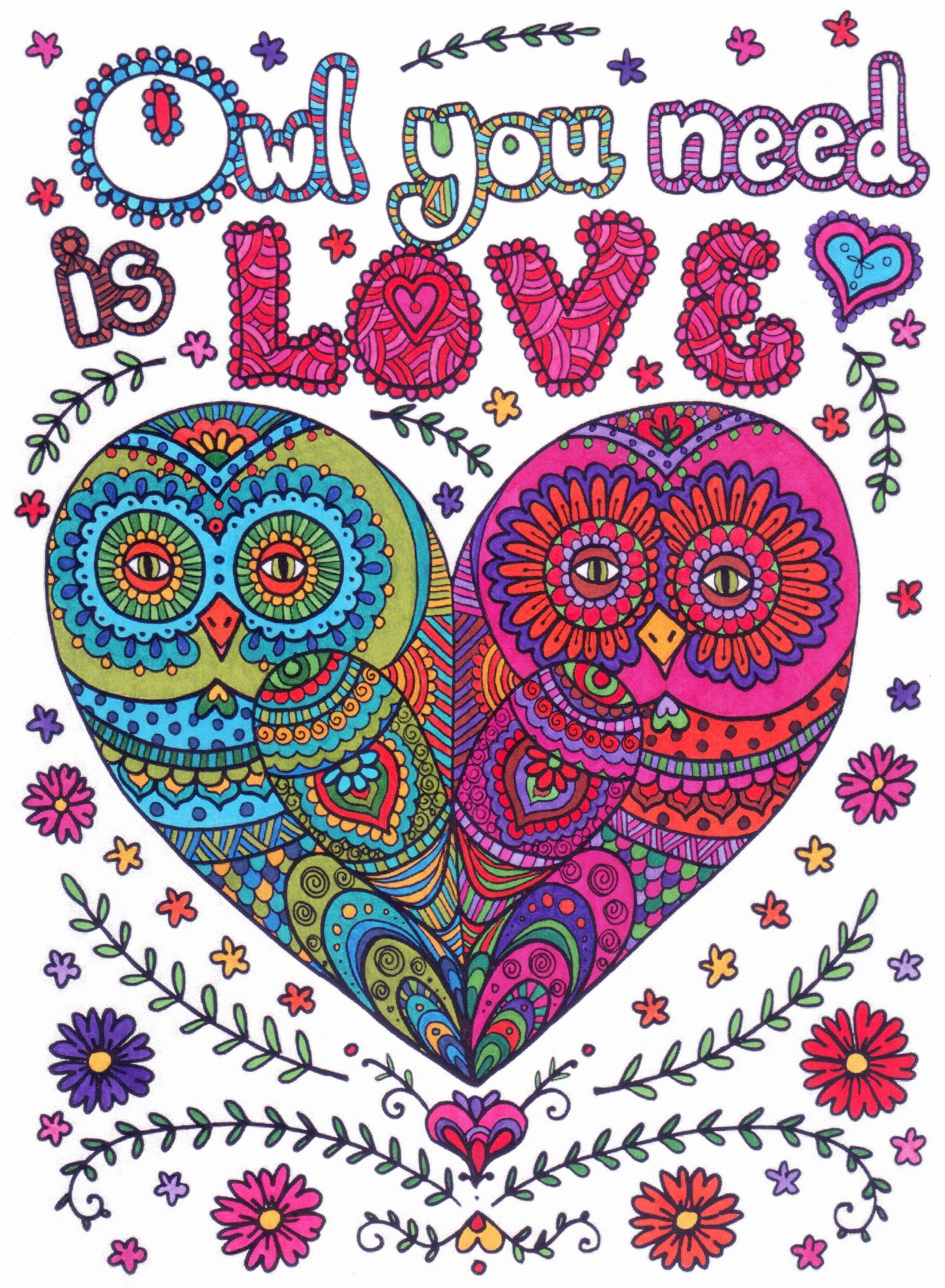 Owl You Need Is Love Quote Kleurplaten