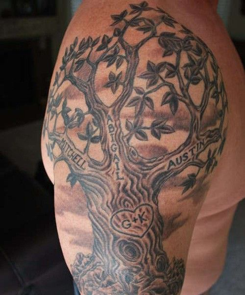 Family Tattoos Shoulder Tree Tattoo Men Tree Sleeve Tattoo Family Tree Tattoo