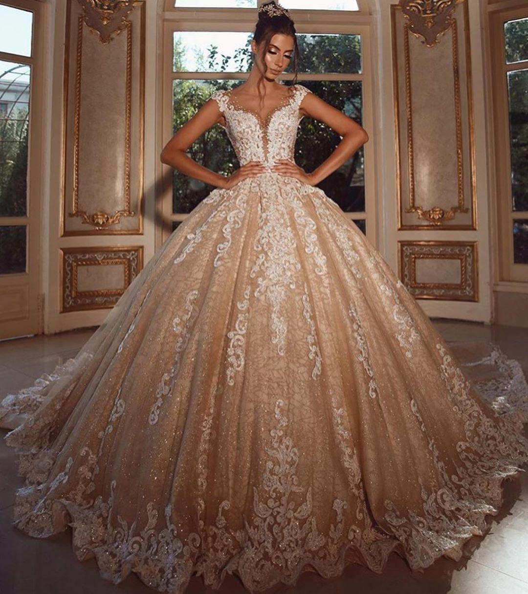 Luxus Hochzeitskleider Lang Glitzer  Brautkleider Prinzessin mit