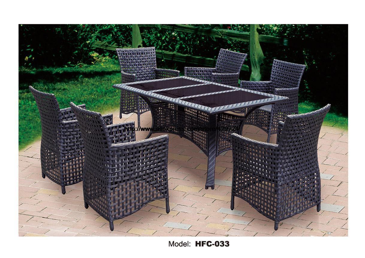 Barcelona Rectangular Grey Rattan Garden Furniture Table And 6