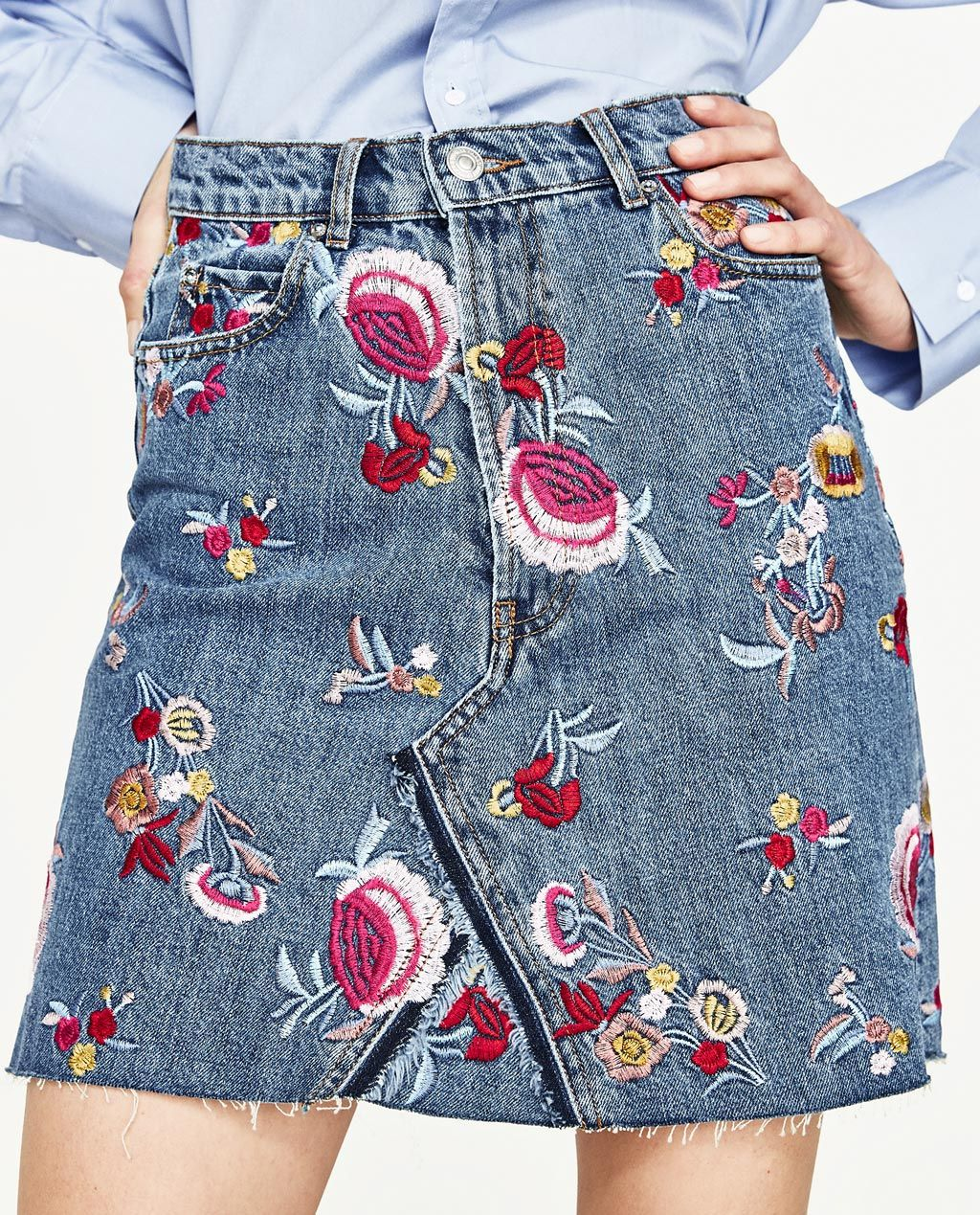 66eff0a0 Image 2 of EMBROIDERED DENIM SKIRT from Zara | DIY Inspo in 2019 ...